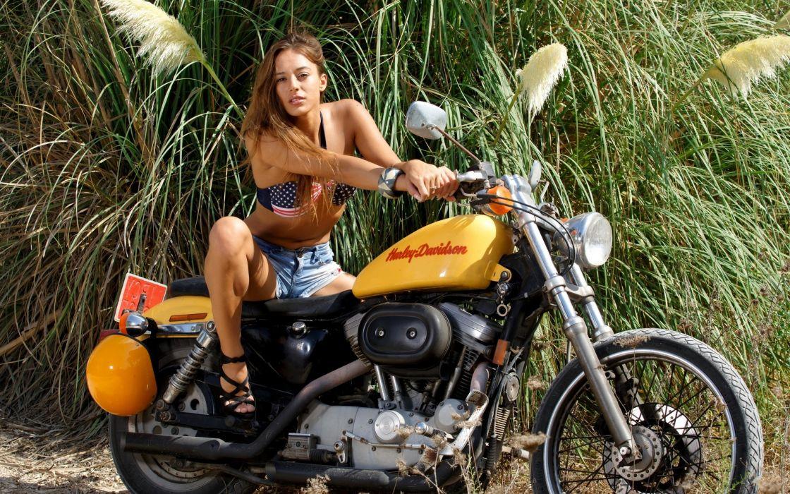 dominika chybova harley davidson women model brunette sexy babes wallpaper