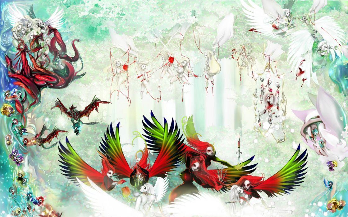 vector fantasy angels fairy art psychedelic wings birds wallpaper