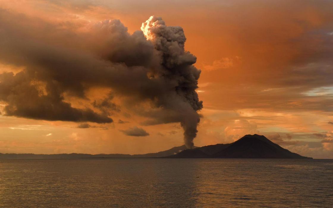 landscapes ocean volcano ash smoke sky wallpaper