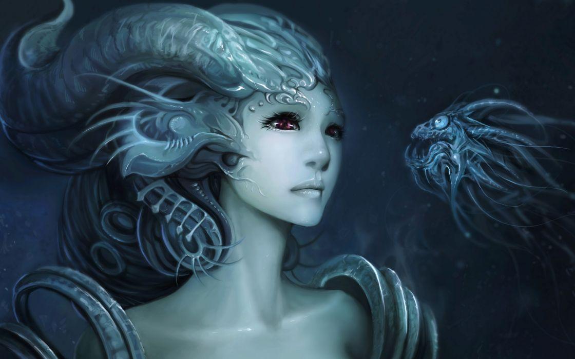 fantasy mermaid art underwater women fishes wallpaper