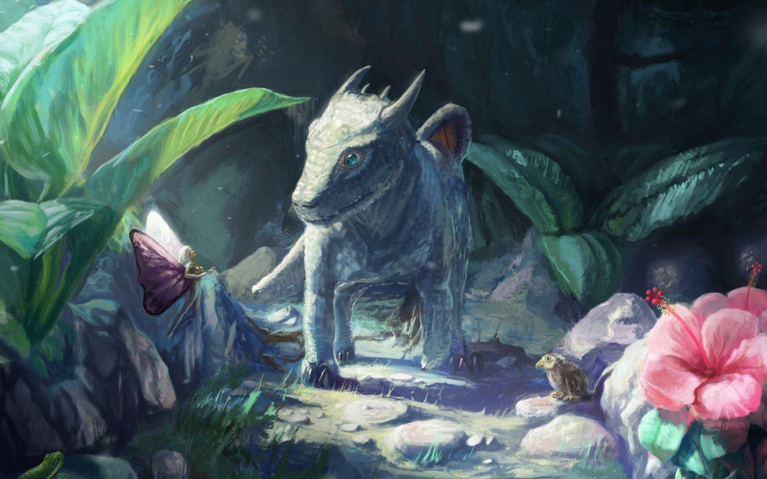 fantasy art dragon fairy creature monster flowers wallpaper
