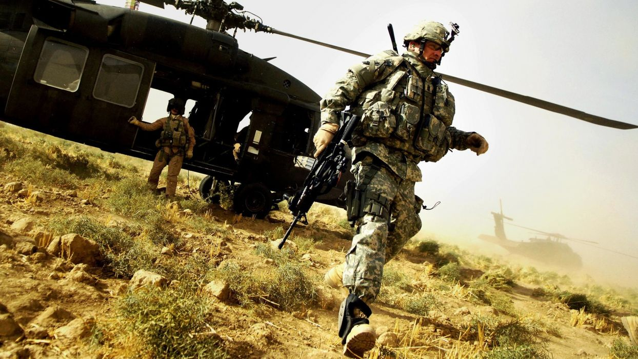 military soldier helicopter warrior weapons wallpaper