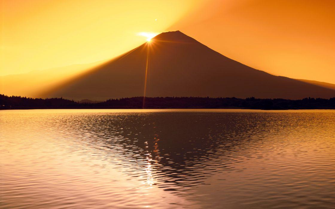 sunset mountains reflection wallpaper