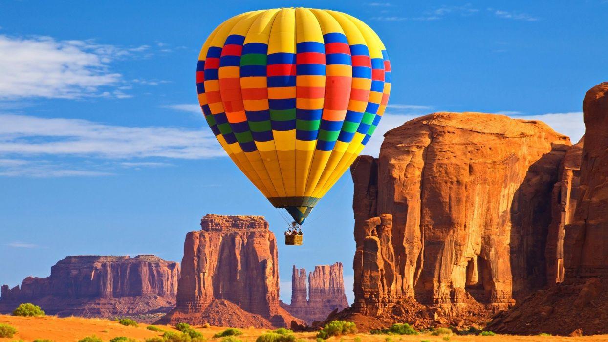 balloon people mountains sky wallpaper