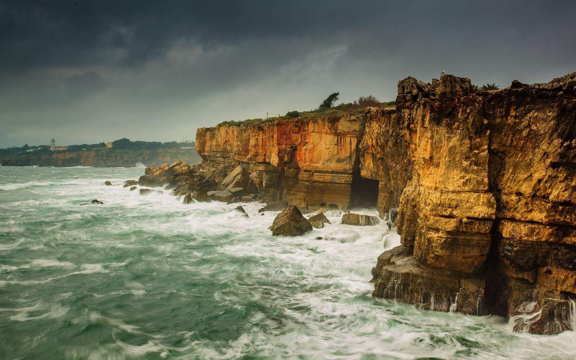 landscapes cliff waves wallpaper