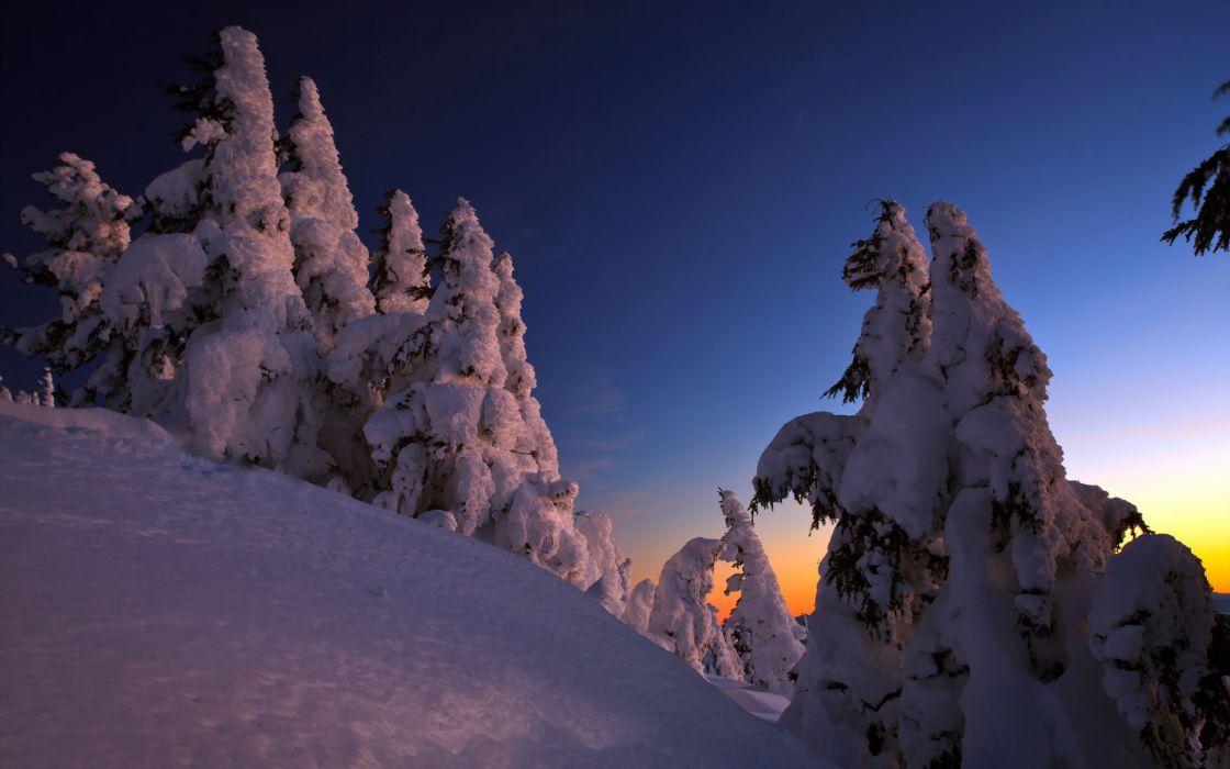 winter landscapes sunset wallpaper