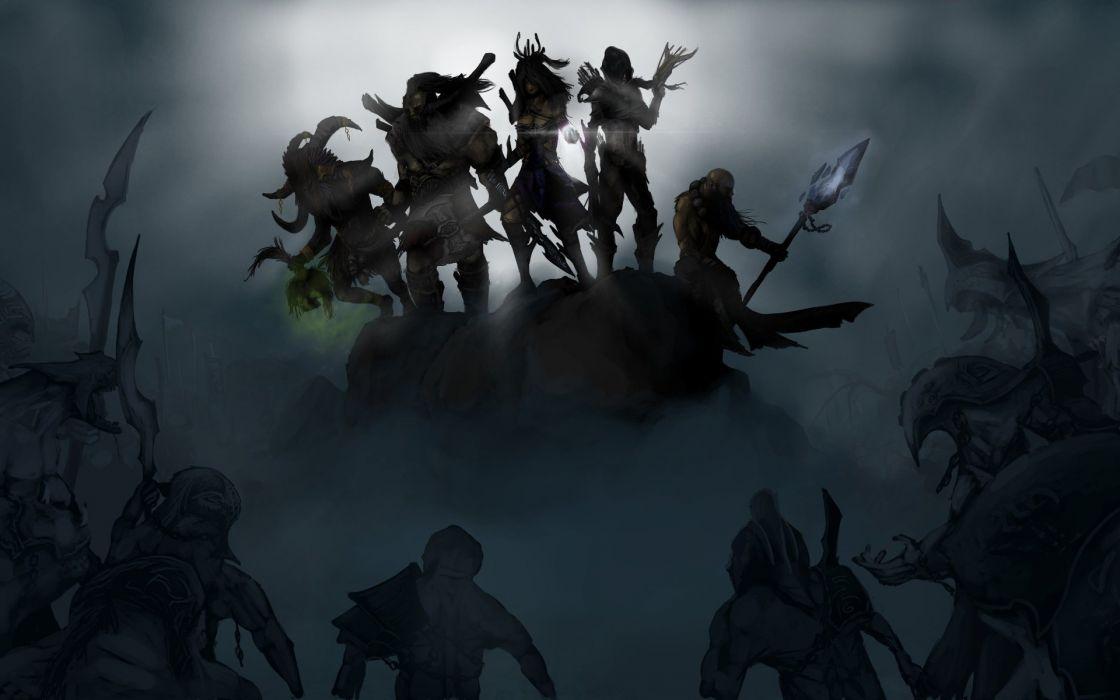 diablo 3 fantasy warrior weapons dark wallpaper