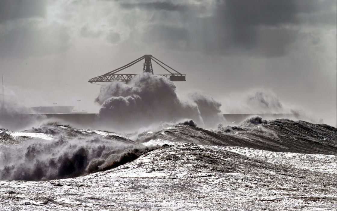 water waves drops splash storm sky wallpaper