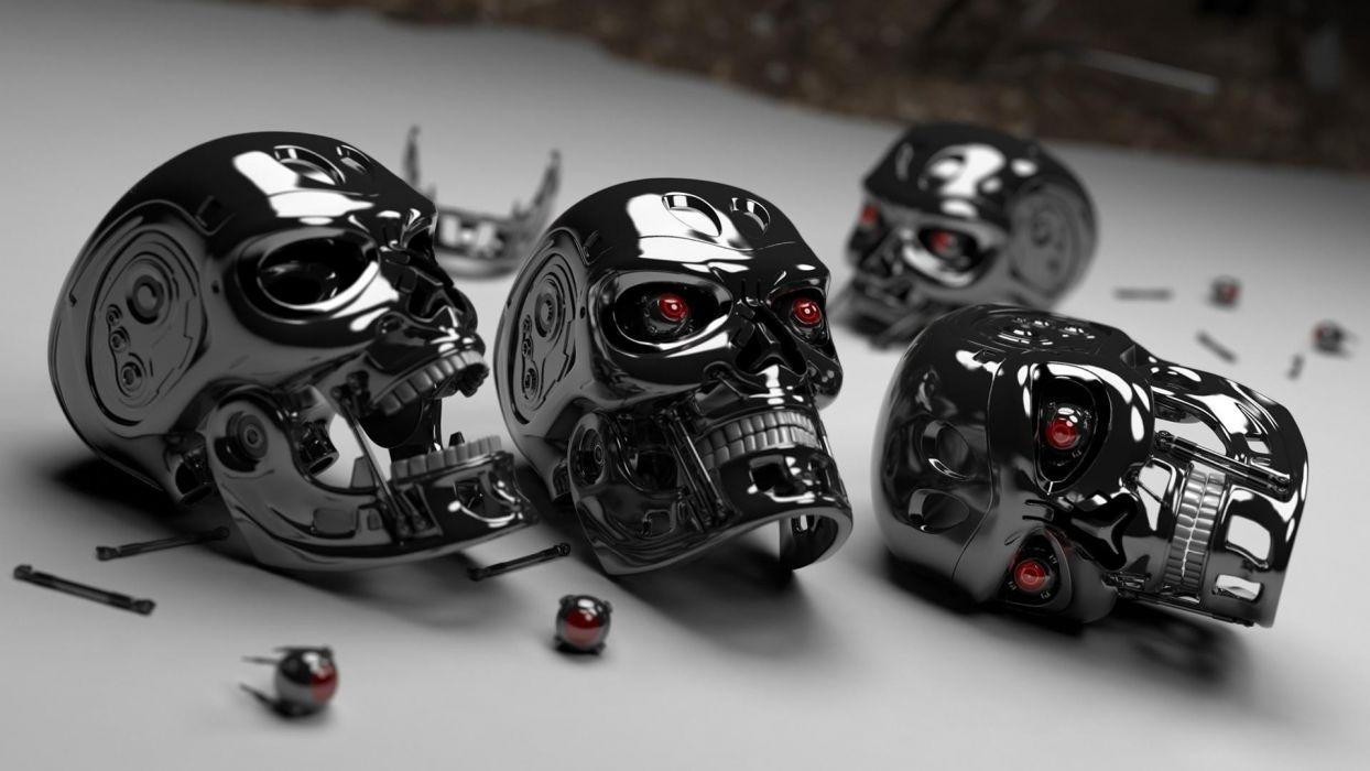 Terminator dark horror skull sci fi cyborg robot wallpaper