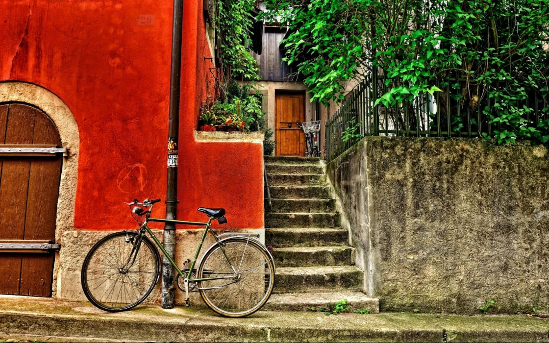 mood hdr buildings bicycle stairs wallpaper
