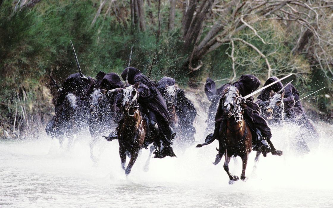 the lord of the rings horses nazgul rivers swords the fellowship of the ring ringwraith splashes fantasy horses river weapons sword dark evil horror wallpaper