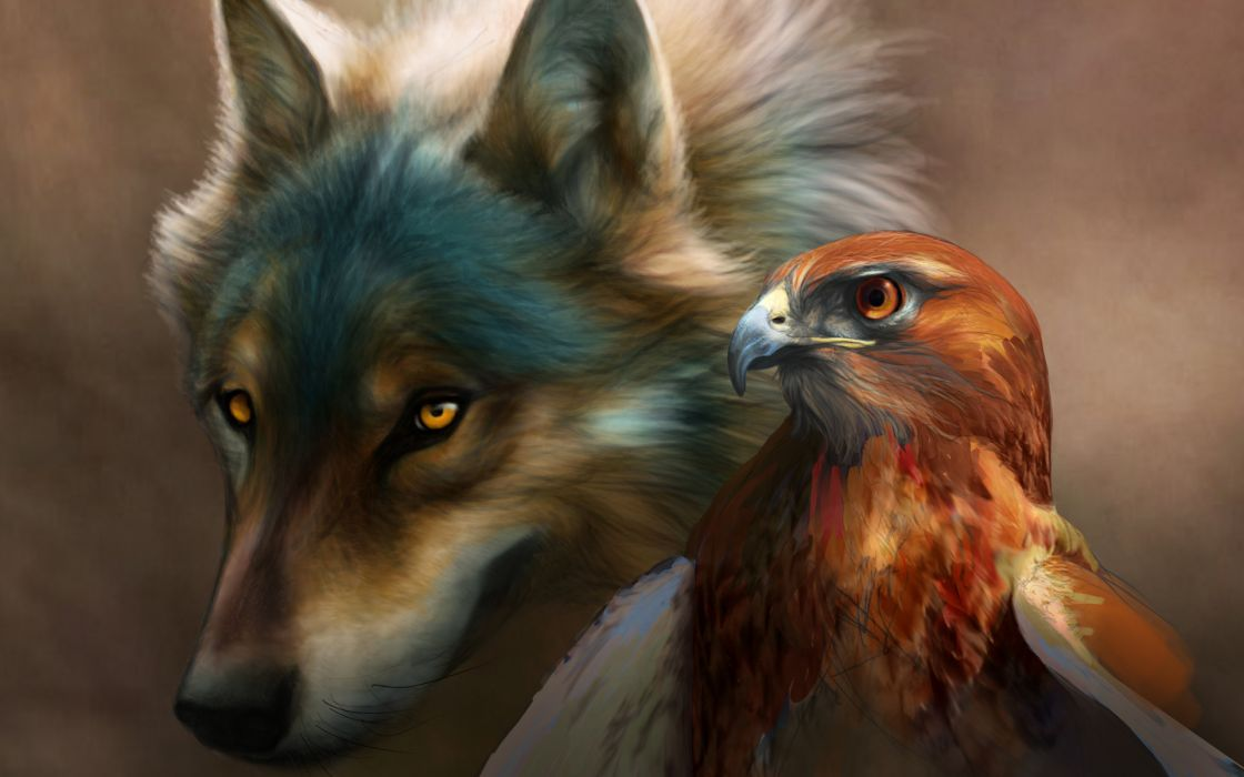 art painting wolf birds dogs hawk wallpaper