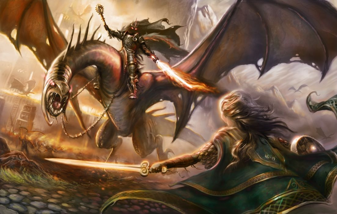 fantasy dragon women art warrior demon weapons wallpaper
