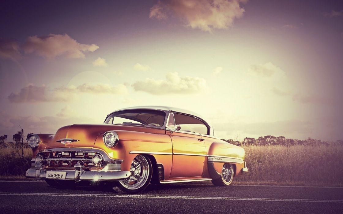 Chevrolet hot rod tuning low road custom retro classic wallpaper