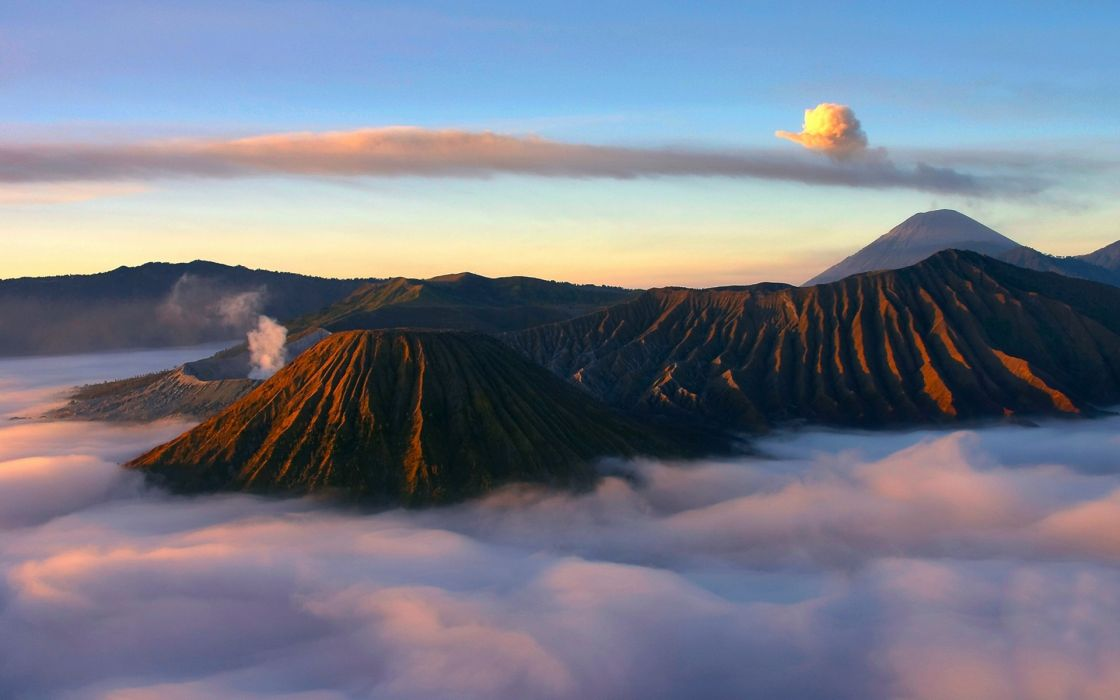 landscapes volcano clouds sky wallpaper