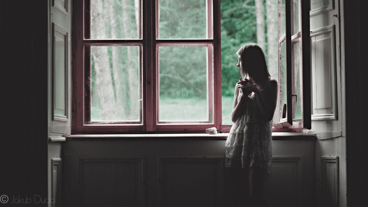 women model mood blonde window reflection waiting wallpaper