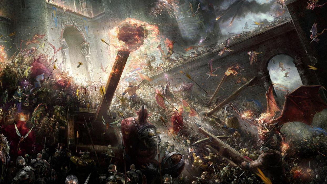 fantasy art battle castle siege weapons warrior army destruction wallpaper