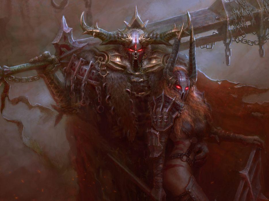 fantasy demon warrior women dark mask weapons art wallpaper