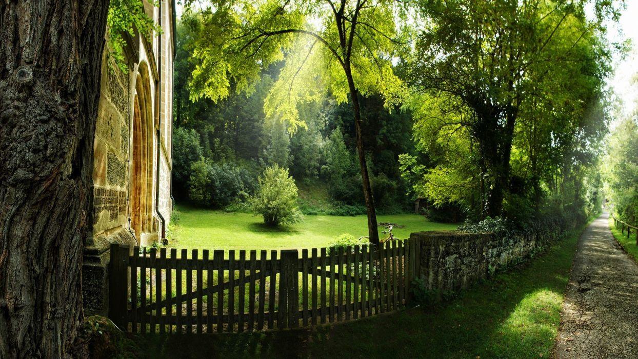 buildings garden park grass trees fence wallpaper