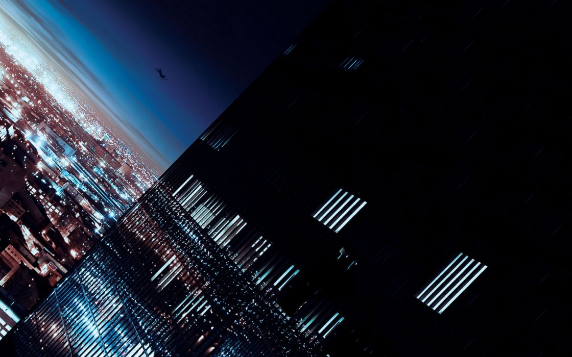 night silhouette buildings skyscrapers city lights window panes album covers onra falling 1920x12 Abstract Windows 7 HD Wallpaper wallpaper