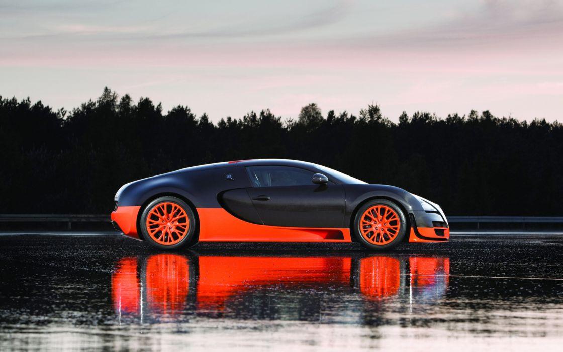 Bugatti Veyron supercar exotic reflection orange wallpaper
