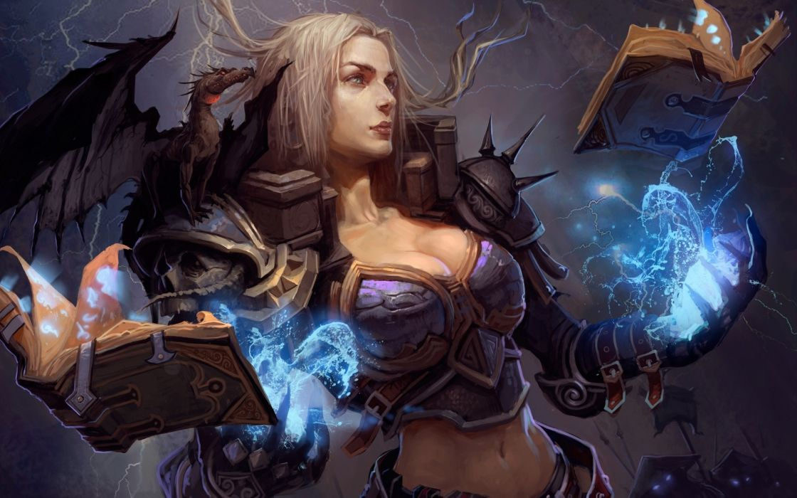 Rune Mage fantasy magic sorcerer dragon spell witch wallpaper