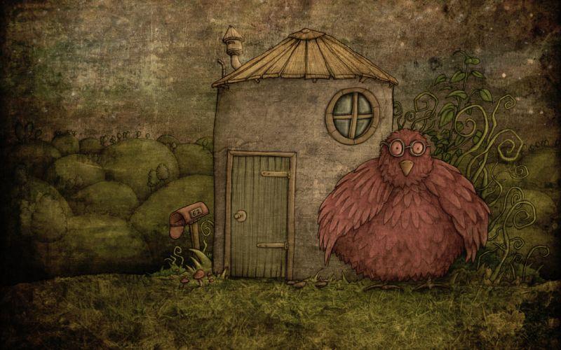 children art animals birds mood rustic wallpaper
