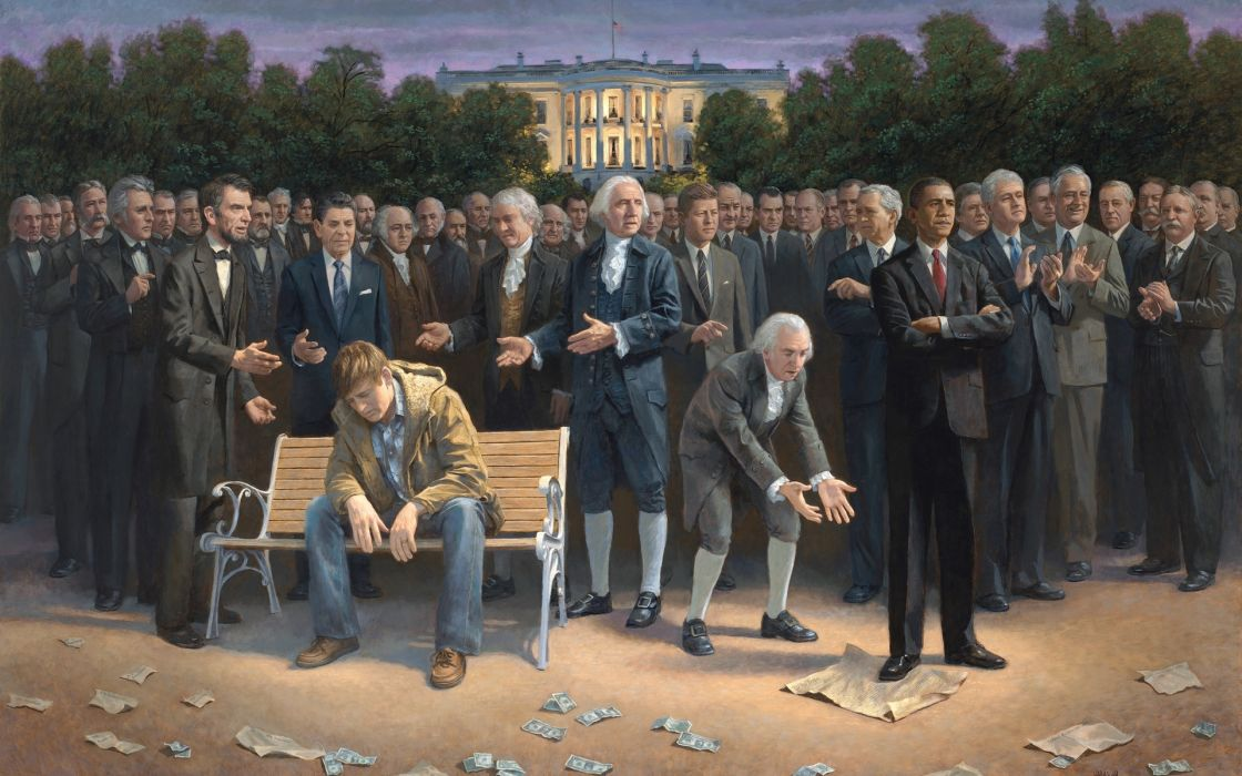 barack obama Abraham Lincoln America usa politics dark people men art surreal anarchy economy mood sad sorrow poor sadic humor wallpaper