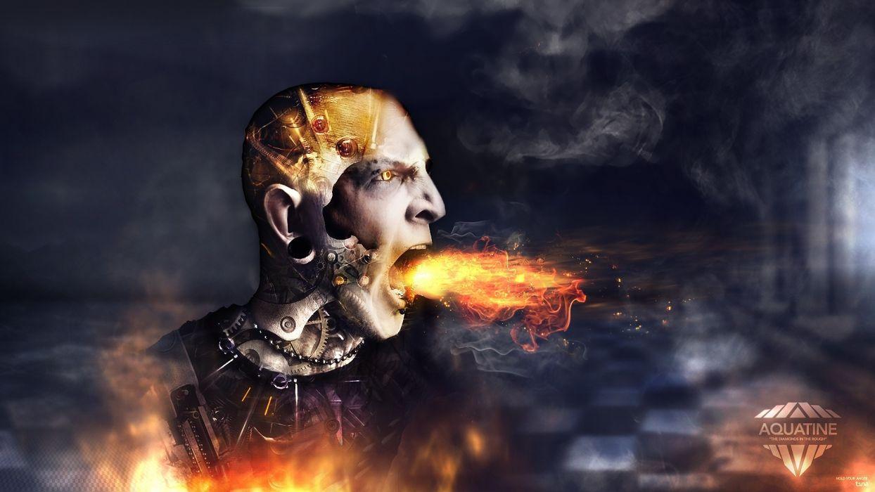 cg digital manip men sci fi cyborg robot gear fire scream face mood angry wallpaper