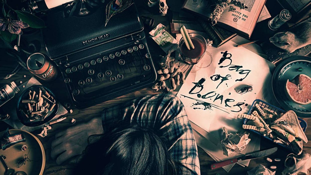 hand head table cigarette knife writing artist books typewriter men mood wallpaper