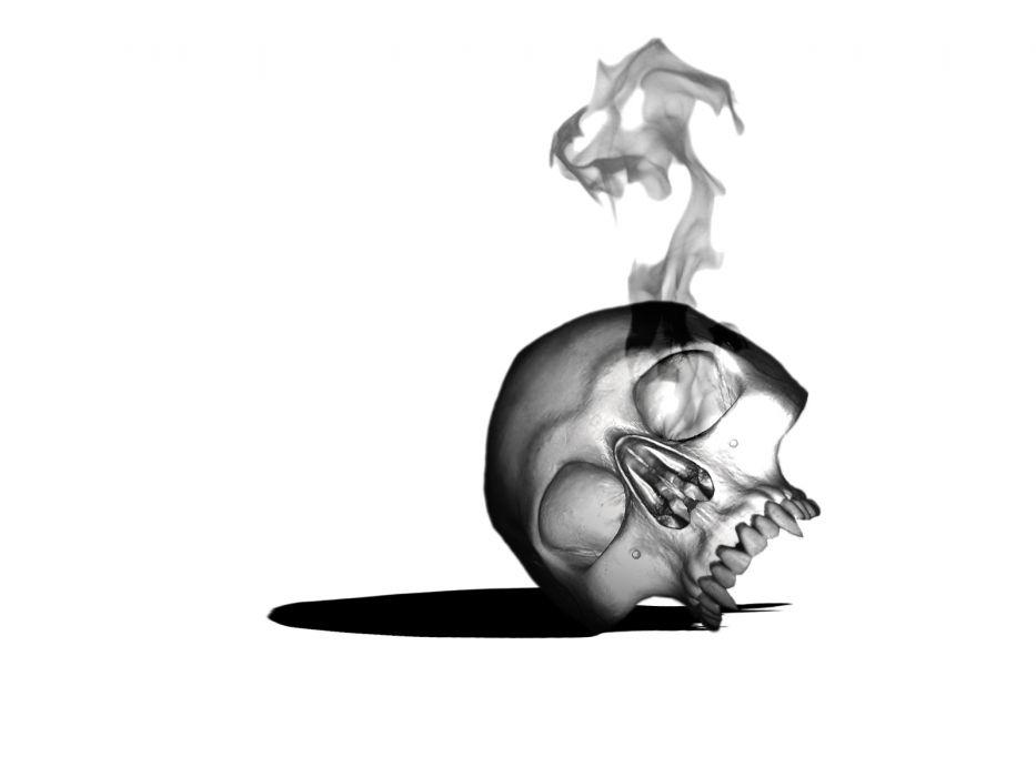 dark horror skull smoke cg wallpaper