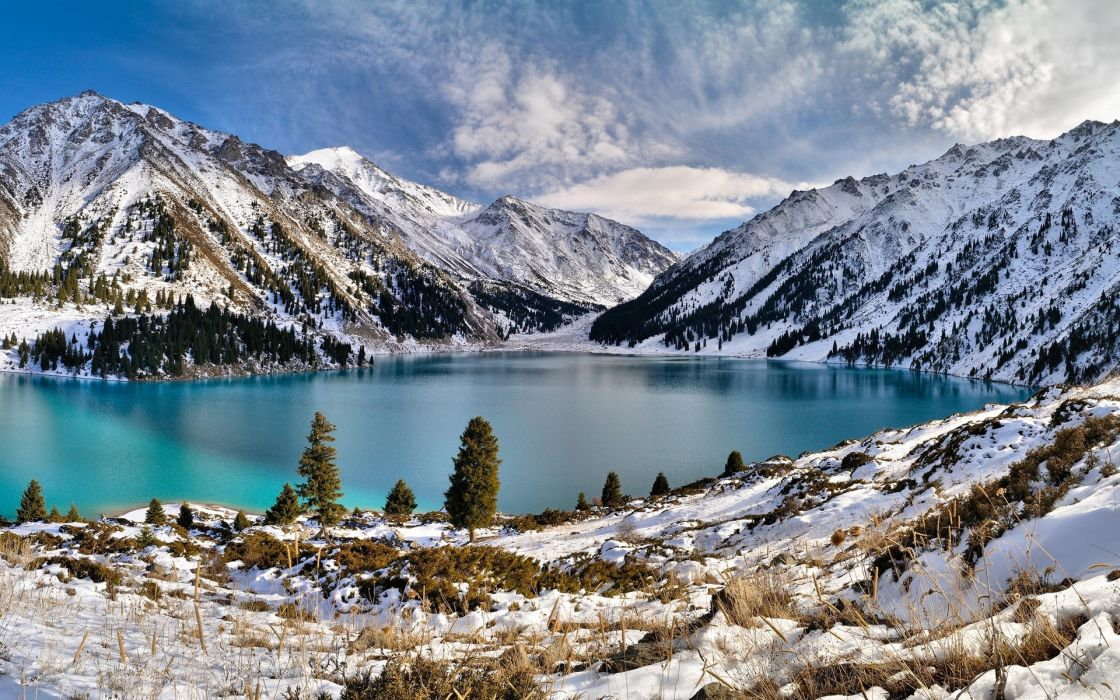 landscapes mountains winter sky wallpaper