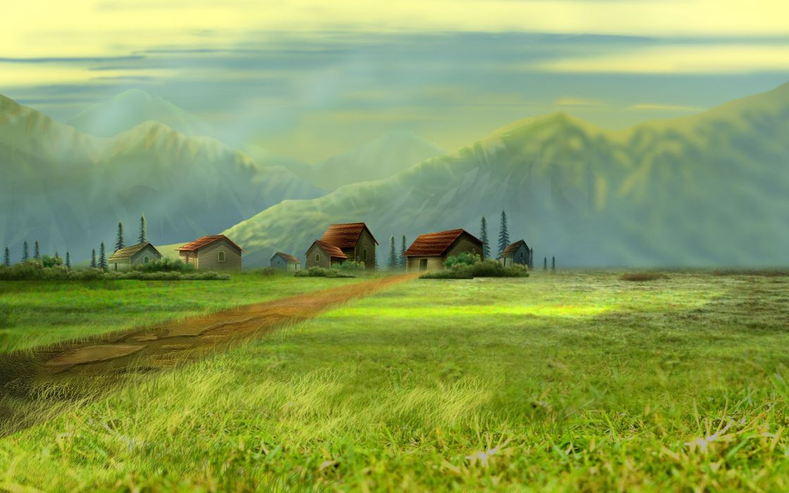 art painting rustic architecture buildings houses village mountains spring sky wallpaper
