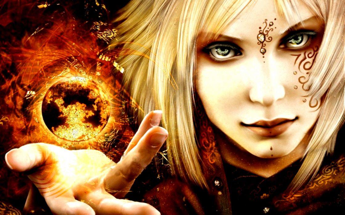 dark horror fantasy witch occult magic spell sphere crystal women face art cg wallpaper
