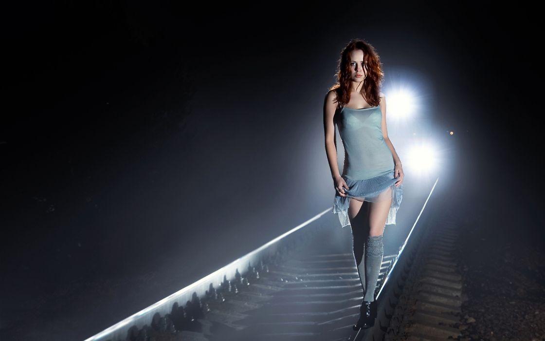 dark horror gothic emo mood tracks train lights night women redhead sexy babes wallpaper