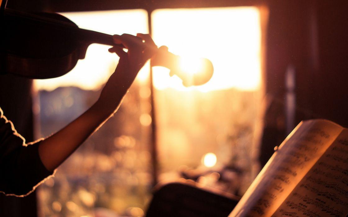 violin instrument sunset wallpaper