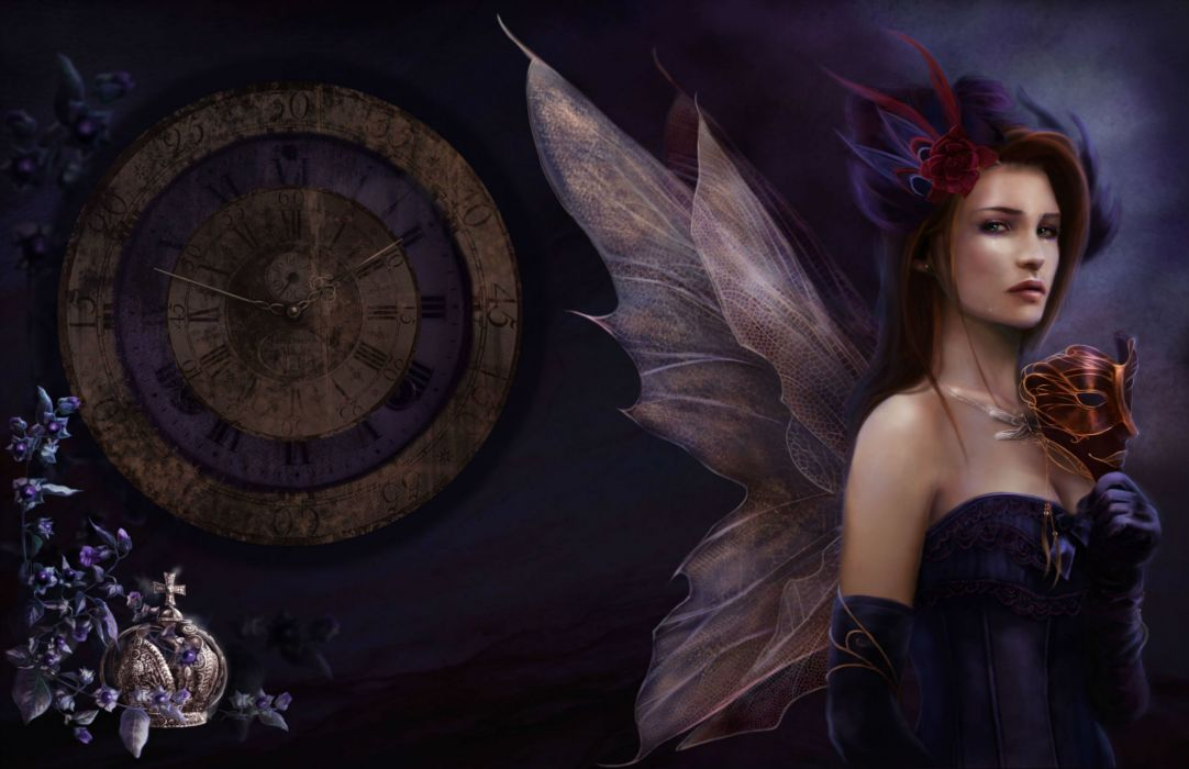 fantasy gothic fairy time women art wallpaper