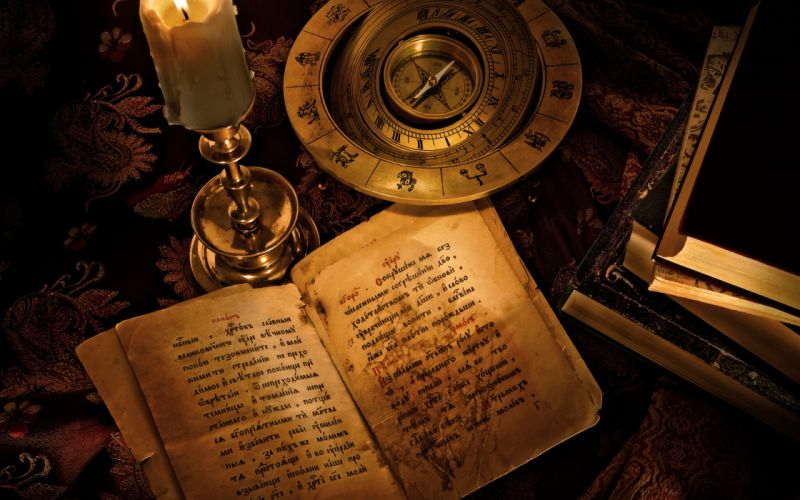 candle book compass zodiac signs lettering harry potter fantasy witch dark horror wallpaper