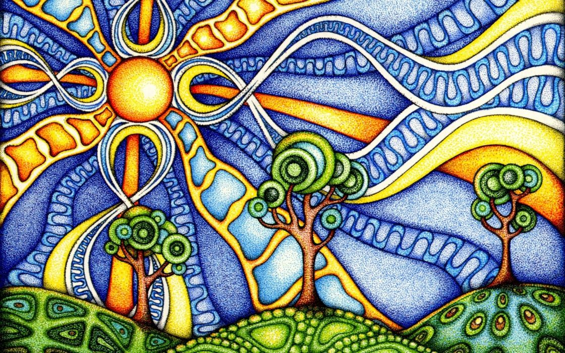 landscapes psychedelic watercolor art summer color wallpaper