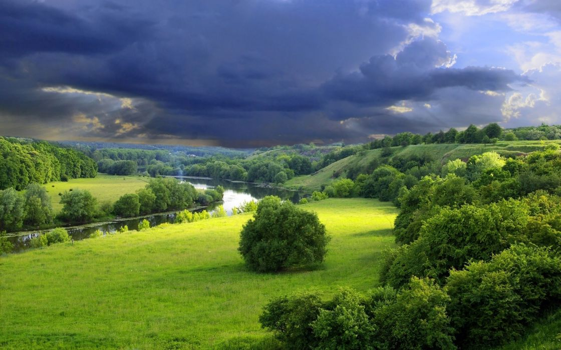 trees river sky clouds wallpaper