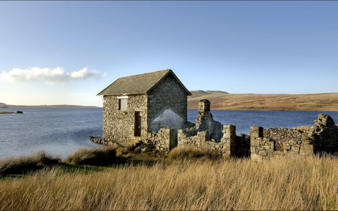 decay ruin architecture buildings sea ocean lakes wallpaper