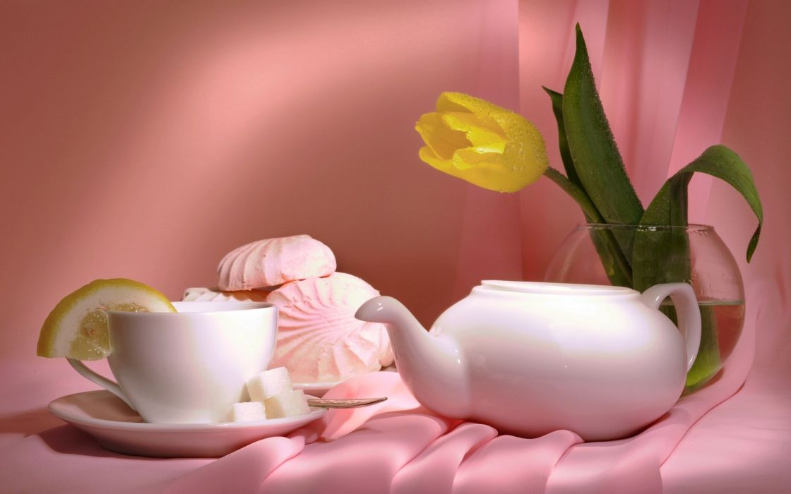 tea still life flowers bokeh wallpaper