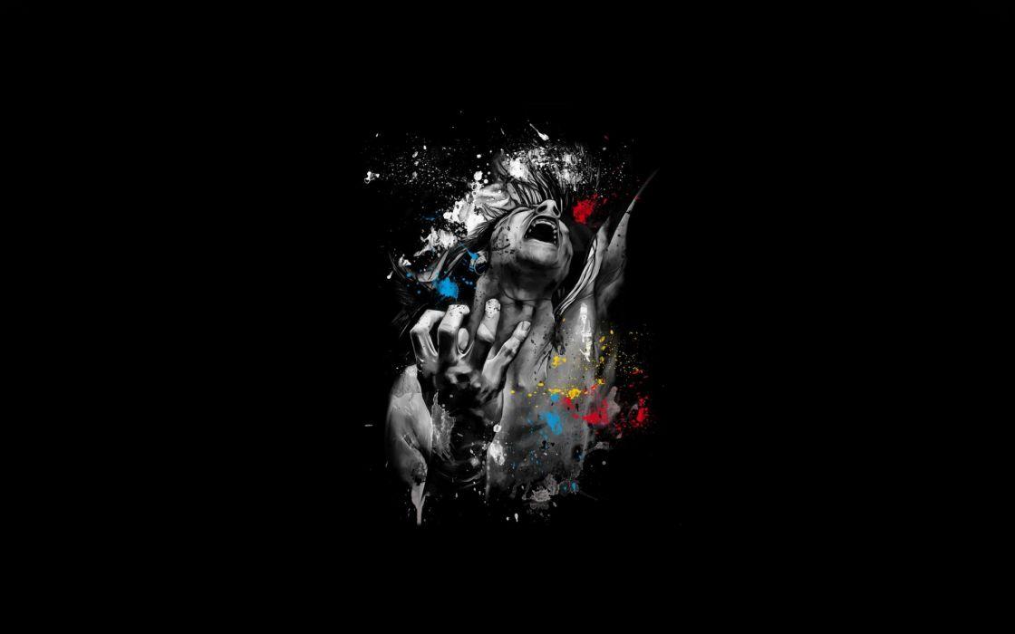 cg digital art manip men people mood scream angry psychedelic wallpaper