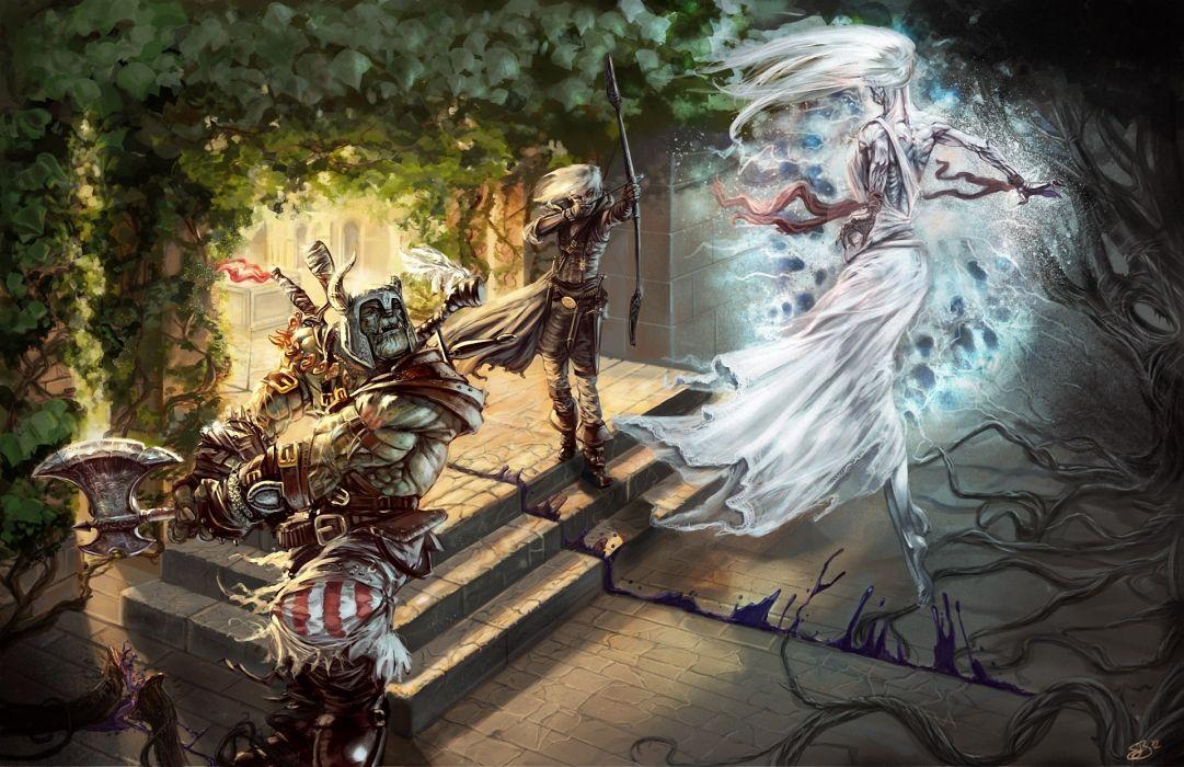 Battles Warriors Archers Magic Battle axes magic art wallpaper