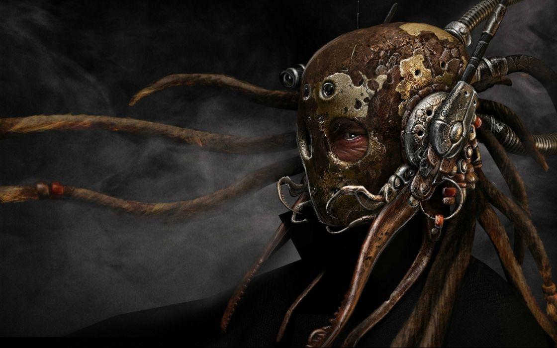 fantasy sci fi dark warrior cyborg mask tech mech art wallpaper