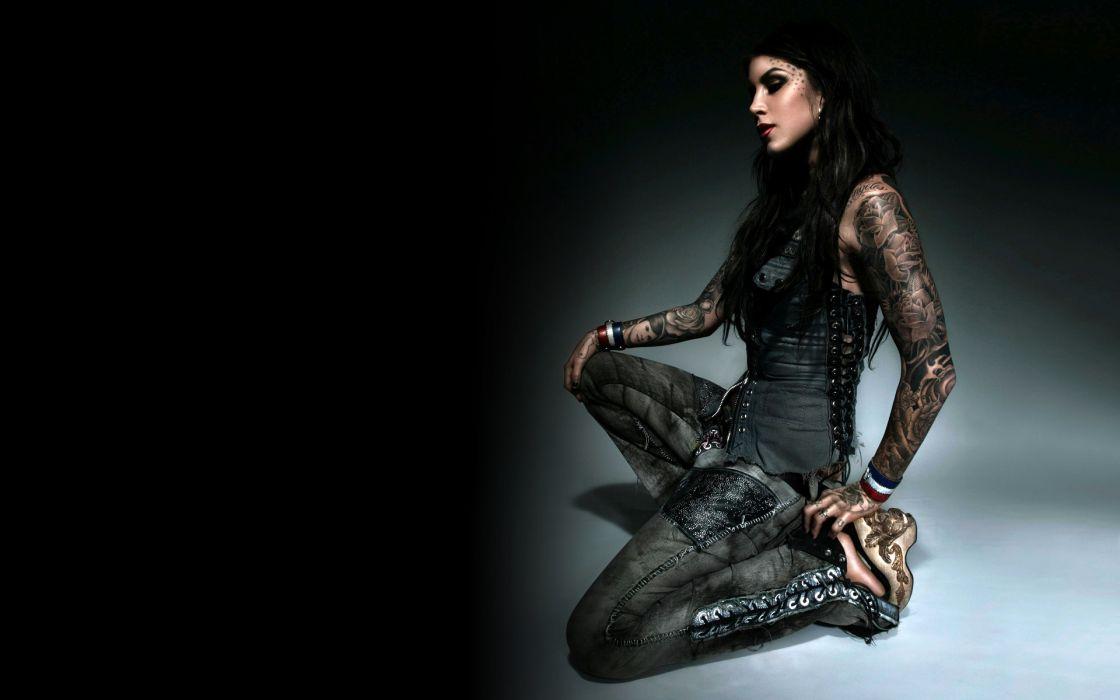 Kat Von D women gothic tattoo sexy babe celeb brunette wallpaper