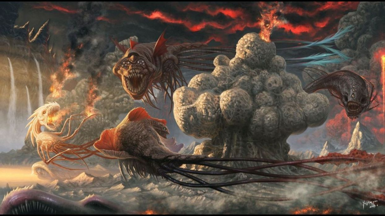 dark horror evil fantasy art monsters wallpaper