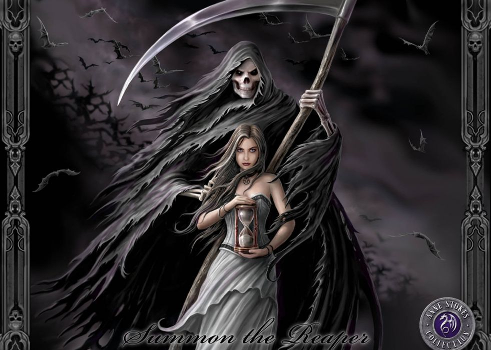 Anne Stokes dark horror evil grim reaper death gothic women weapon wallpaper