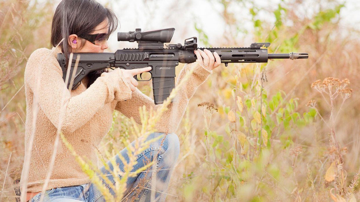 women model weapons guns assault rifles wallpaper
