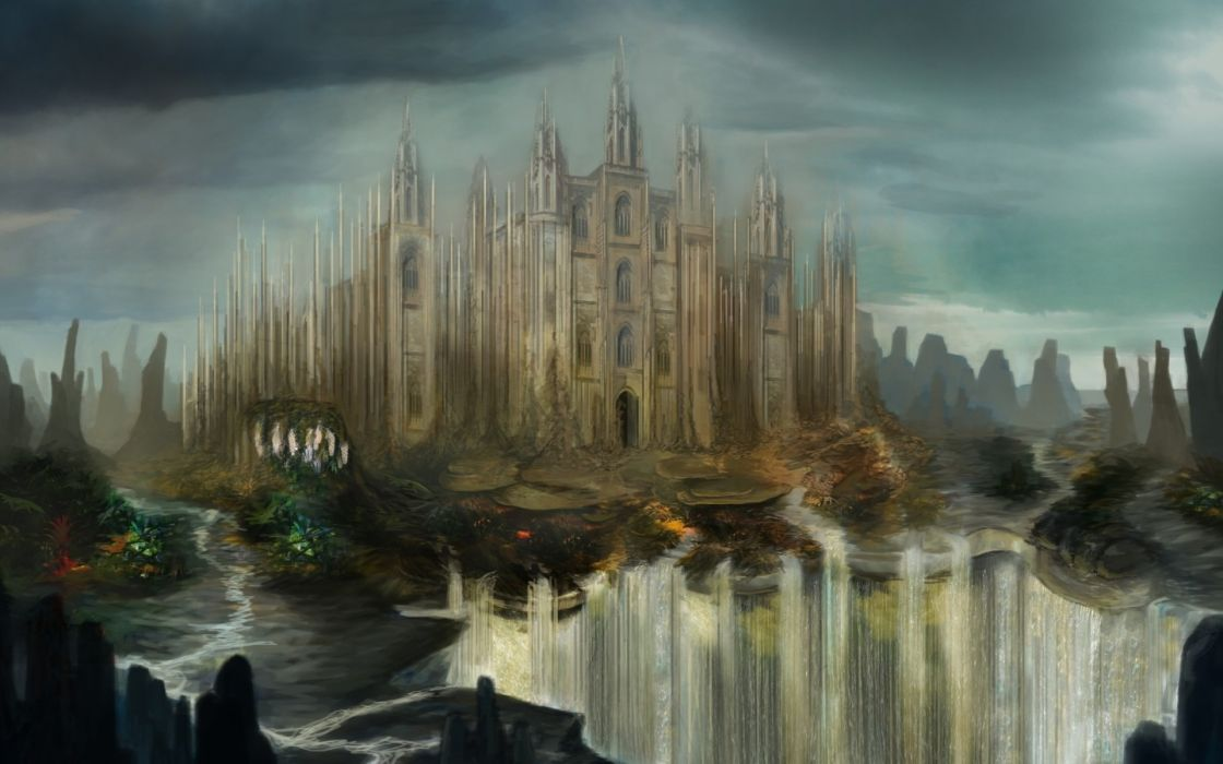 Fantasy art landscapes waterfall cities castle wallpaper ...